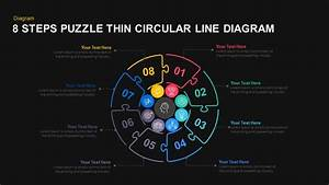 8 Steps Thin Line Circular Puzzle Diagram Template For