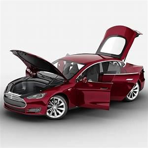 tesla s 2014 rigged car 3d model