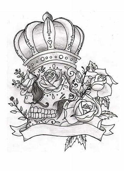 Tattoo Coloring Skull Sugar Pages Skulls Tattoos