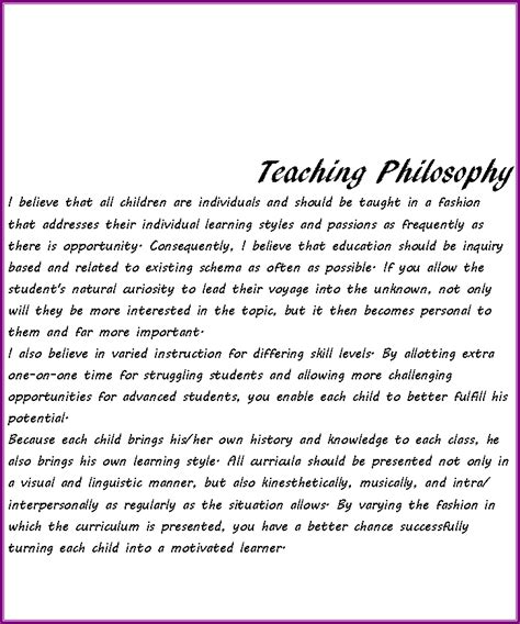 teaching philosophy template text box teaching philosophy i believe that all children are individuals and should be taught