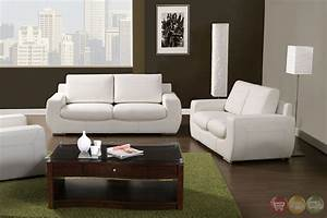 Tekir contemporary white living room set with bonded for White leather living room set