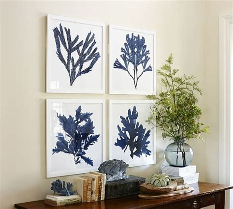 pottery barn prints framed coral prints indigo pottery barn