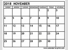 November 2018 Calendar calendar month printable
