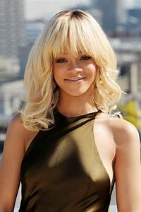 Rihanna Long Blonde Wavy Hairstyle with Blunt Bangs for ...