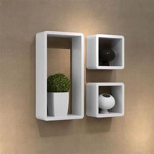 etageres design murale 3 cubes blanc mdf 42 x 22 x achat With salle de bain design avec décoration murale métal magasin