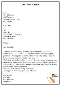 transfer letter template format sample