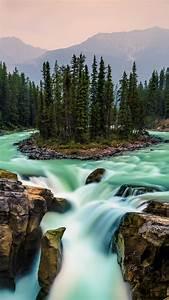 wallpaper jasper national park canada waterfall 5k