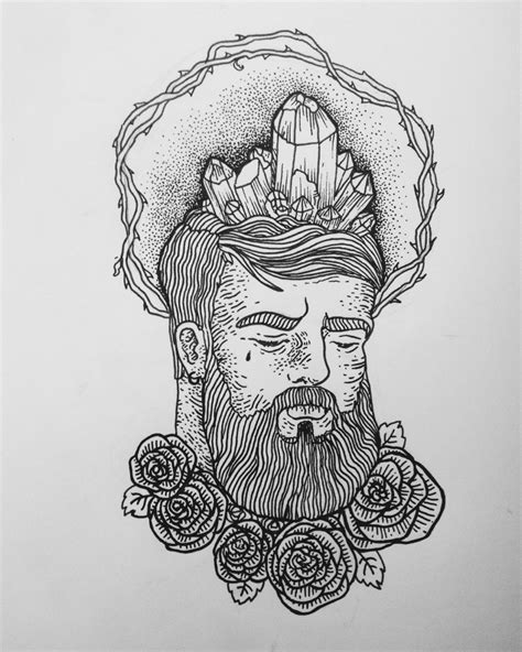 Crystal Brained traditional tattoo sketch | Best Tattoo