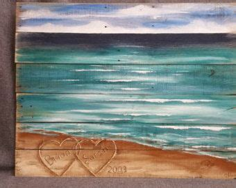 wood pallet beach wall art beach personalized hearts