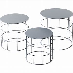 atipico set of 3 reton rounded coffee tables ash gray With set of three coffee tables