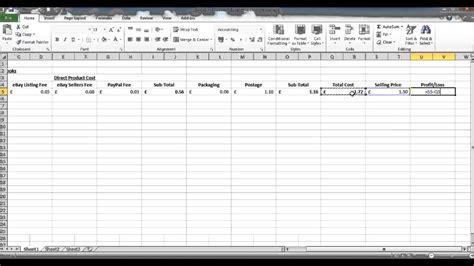 costing spreadsheet calculate profit per product or