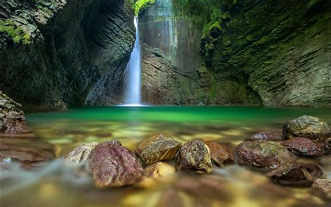 Nature Landscape Pond Waterfall Long Exposure Rock