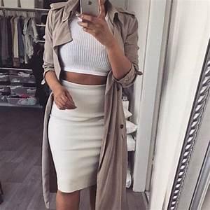Top: knitwear, jacket, white, skirt, pencil skirt, hot ...