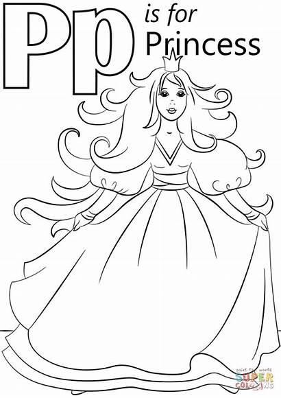 Coloring Letter Princess Pages Printable Abc Alphabet