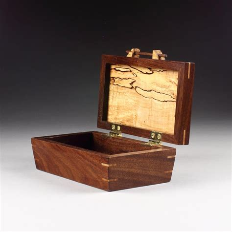 walnut box  tapered sides  spalted maple lid etsy