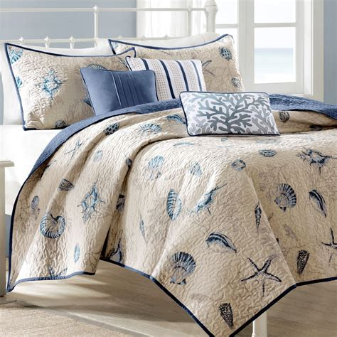 coastal bedding sets nantucket coastal seashell 6 pc coverlet bed set