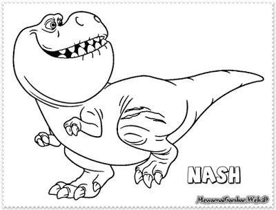 mewarnai gambar  good dinosaur mewarnai gambar