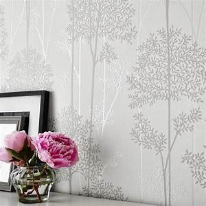 Eternal White / Mica Glitter Textured Vinyl Wallpaper by ...