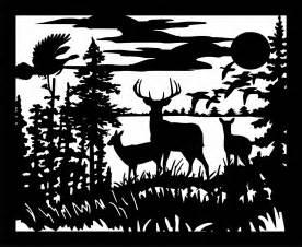 Deer Scene Silhouette Clip Art