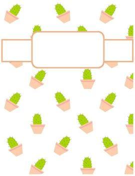 cute cactus print binder cover sheets  cheyenne bowen tpt