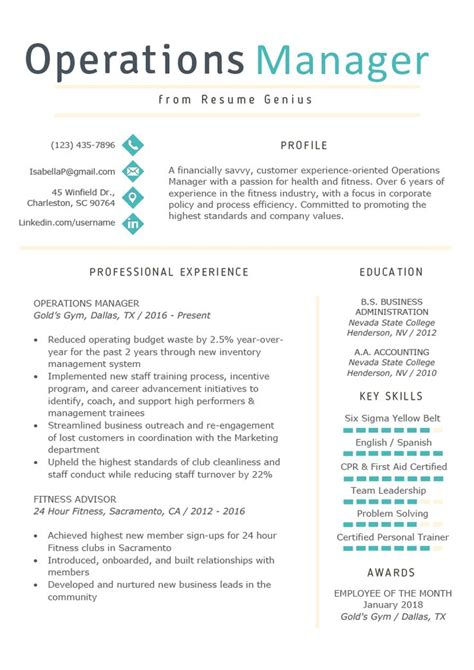 operations manager resume  writing tips rg