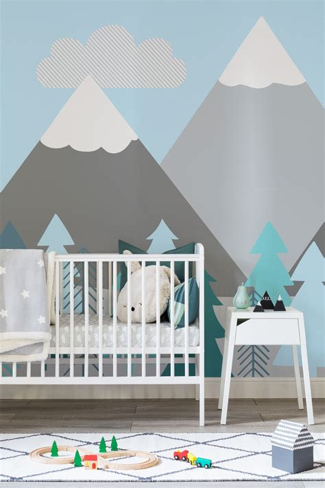kids mountains  trees wall mural interior design