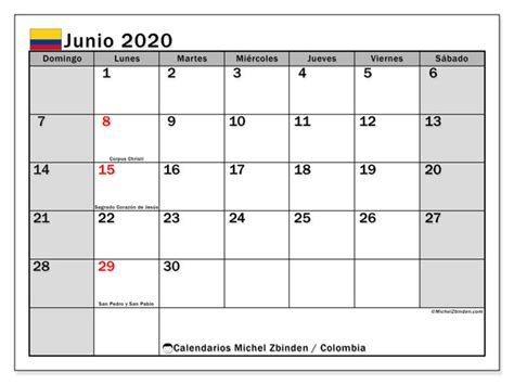 calendario junio colombia michel zbinden es