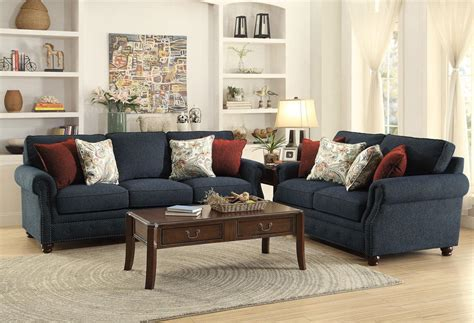 Blue Chenille Sofa by Olympia Blue Chenille Living Room Furniture Oversized Sofa