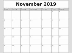November 2019 Monthly Calendar Printable