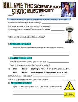 Bill Nye The Science Guy  Static Electricity (video Worksheet) Tpt