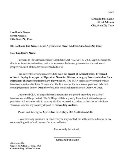 sample lease termination letter templates  ms