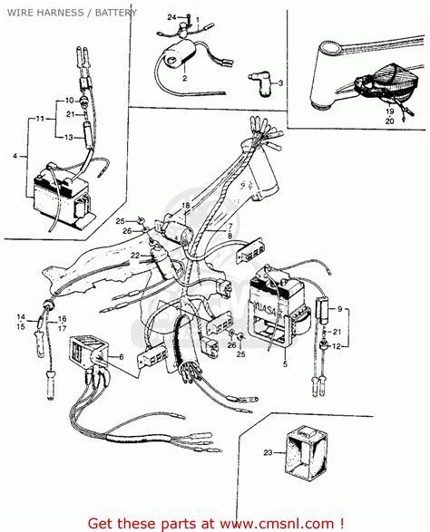 honda  super  usa wire harness battery schematic partsfiche