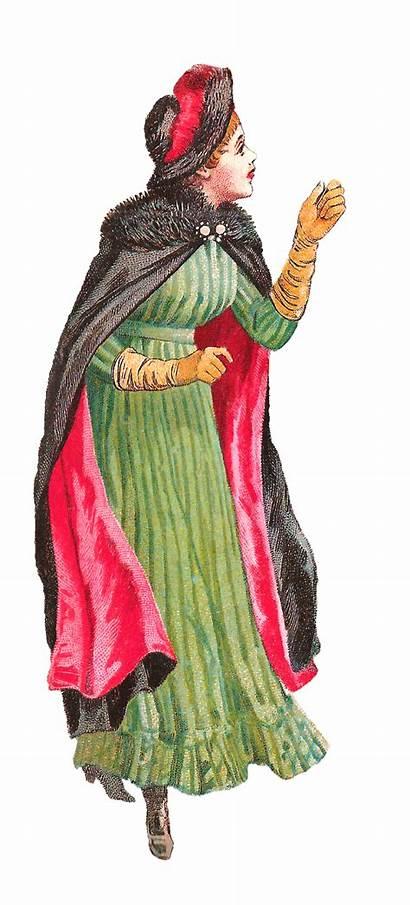 Winter Antique Victorian Illustration Cape Woman Womens