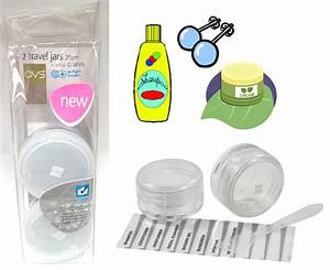 2 portable travel jars refillable clear pots plastic With clear cosmetic labels