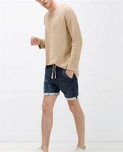 Zara Drawstring Denim Bermuda Shorts in Blue for Men | Lyst