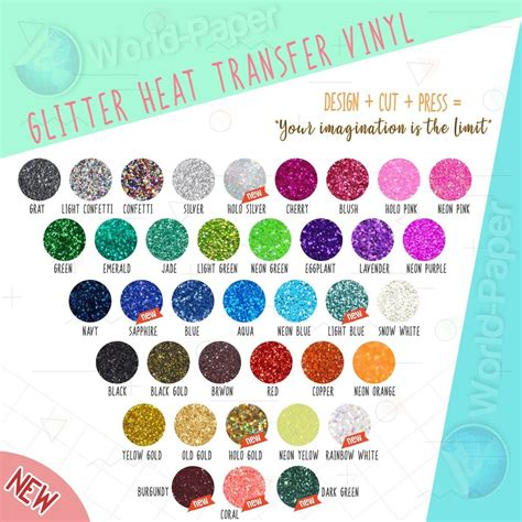 10 quot x 5yd color theory glitter heat transfer vinyl for
