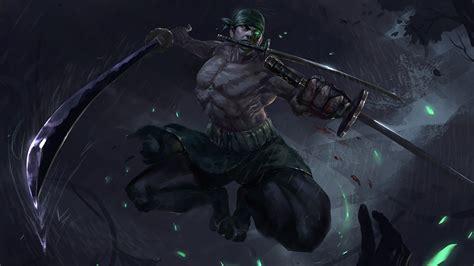 desktop wallpaper dark artwork warrior  piece zoro