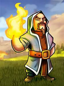 How to Draw Wizard From Clash of Clans, Step by Step ...