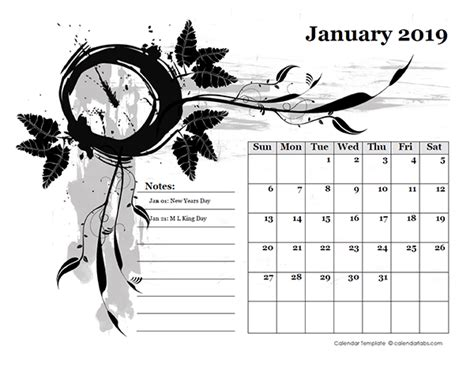 monthly calendar design template  printable