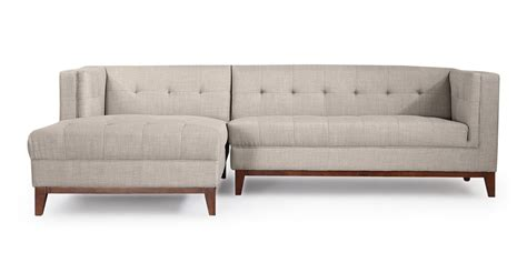 chaise loft harrison modern loft sofa chaise sectional left dove