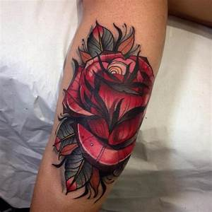 Arm New School Flower Rose Tattoo by Blessed Tattoo
