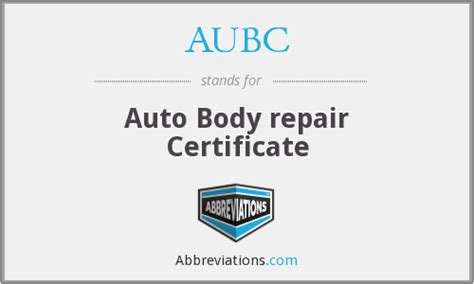 Auto Body Repair Certificate