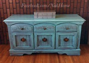 Furniture, Upcycle, Shabby, Chic, Turquoise, Blue, Vintage, Buffet, Tv, Console, Cabinet, Hand, Painted, With