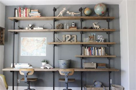 desk and shelving unit trend watch wood and pipe construction ana white