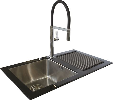 single bowl single drainer black reflection glass sink