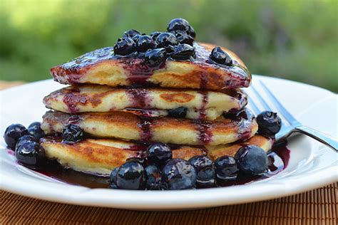 blueberry pancakes blueberry buttermilk pancakes with blueberry maple syrup once upon a chef