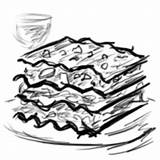 Lasagna Lasagne Sausage Coloring Garlic Italian Dinner Sketch Template sketch template