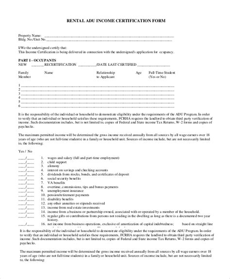 sample rental verification forms   ms word