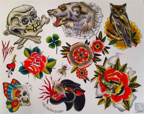 split tattoo flash sheet  andrew mcdonaldperfect