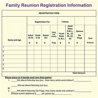Reunion Form Template Registration Forms Printable Printablee